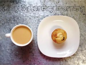 My favorite lazy Saturday: a cup of drip coffee & a banana chocolate chip muffin!