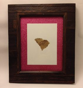 Gold leaf SC print from Little Red Flag on Etsy, glitter scrap book paper as the mat & wooden frame from Michael's.