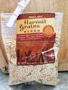 The blend includes Israeli couscous, orzo, baby garbanzo beans & red quinoa.