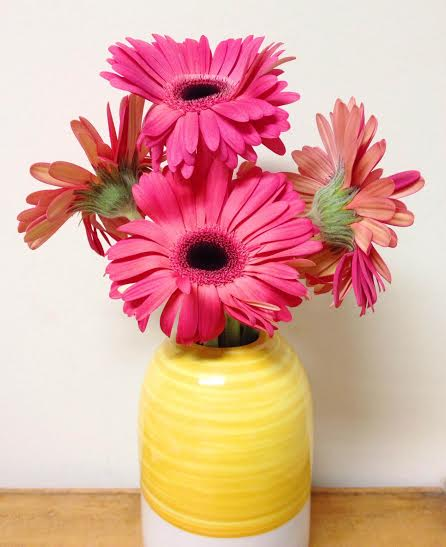 only kidding - I bought him cheesecake, but aren't these bright pink flowers perfect in my new yellow vase from IKEA?!