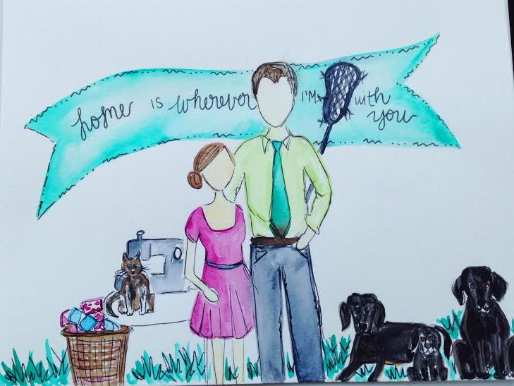 If you've ever met me, the Hubs and our pets, you know how very SPOT ON this painting is ;)