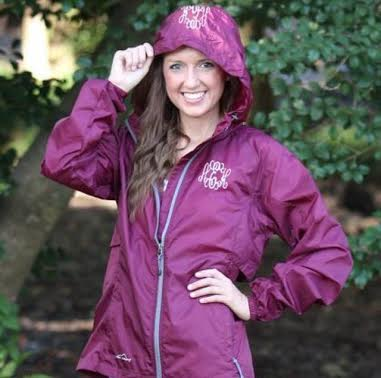 Help her stay dry while walking to class in the rain with this monogrammed rain coat!