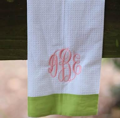 A Monogrammed Dish Towel - perfect for her new kitchen!