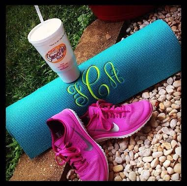 "Send her a holiday ""Namaste"" with a monogrammed yoga mat!"