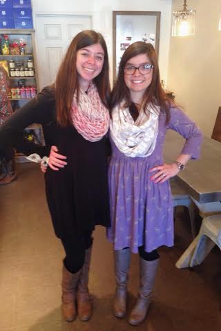 My sister & I at the tea party (she arm knit her pink scarf especially for the Valentine's Day tea party - isn't it so neat?!)